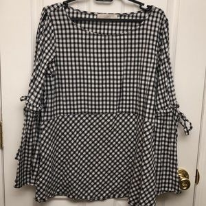 Black and white checkered cold shoulder shirt